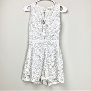 Hollister white lace romper